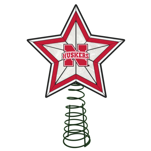 "10"" Lighted Red and White Star NCAA Nebraska Cornhuskers Christmas Tree Topper - IMAGE 1"