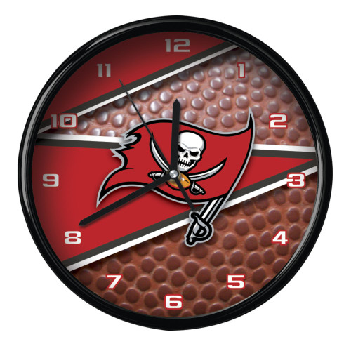 "11.5"" Red and Brown NFL Tampa Bay Buccaneers Wall Clock - IMAGE 1"