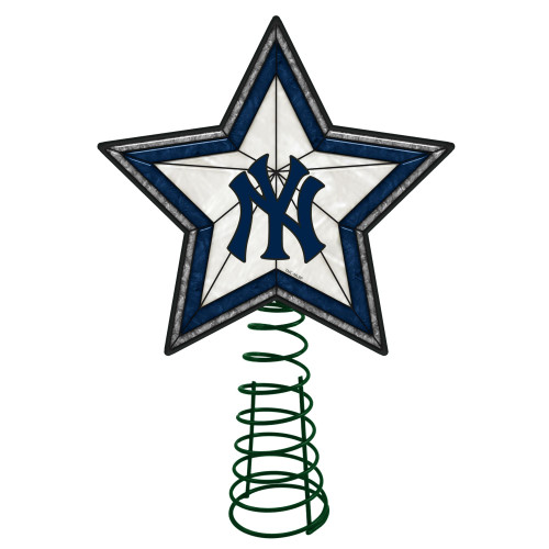 "10"" Lighted Navy Blue and White Star MLB New York Yankees Christmas Tree Topper - IMAGE 1"