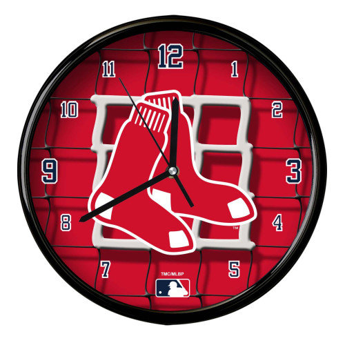 """11.5"""" Red and White MLB Boston Red Sox Net Wall Clock - IMAGE 1"""