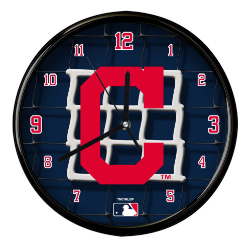 """11.5"""" Navy Blue and Red MLB Cleveland Indians Net Wall Clock - IMAGE 1"""