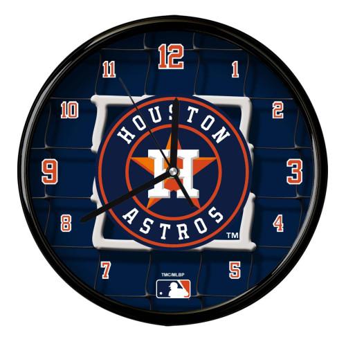 "11.5"" Blue and Orange MLB Houston Astros Net Wall Clock - IMAGE 1"