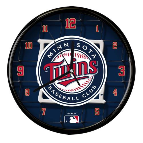"11.5"" Navy Blue and Red MLB Minnesota Twins Net Wall Clock - IMAGE 1"