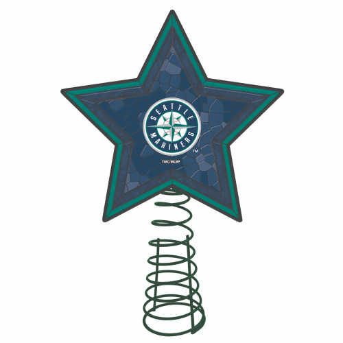 """10"""" Lighted Green and Blue Star MLB Seattle Mariners Christmas Tree Topper - IMAGE 1"""