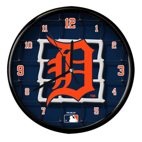 "11.5"" Navy Blue and Orange MLB Detroit Tigers Net Wall Clock - IMAGE 1"