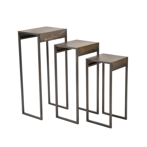 """Set of 3 Bronze and Black Rectangular Solid Side Table 29.50"""" - IMAGE 1"""