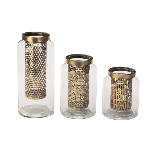 """Set of 3 Clear and Gold Contemporary Glass Candle Holders 9.75"""" - IMAGE 1"""