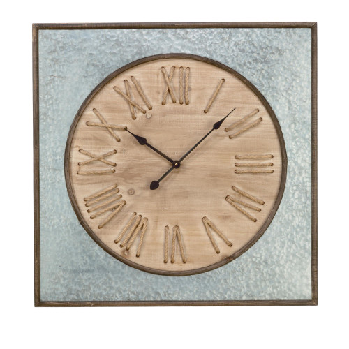 """31.5"""" Silver and Brown Wall Clock with Rope Roman Numerals - IMAGE 1"""