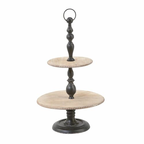 "29.25"" Black and Brown Two Tier Display Stand - IMAGE 1"