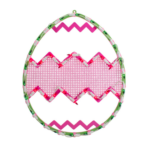 """17"""" Lighted Green with Pink Chevron Stripe Easter Egg Window Silhouette - IMAGE 1"""