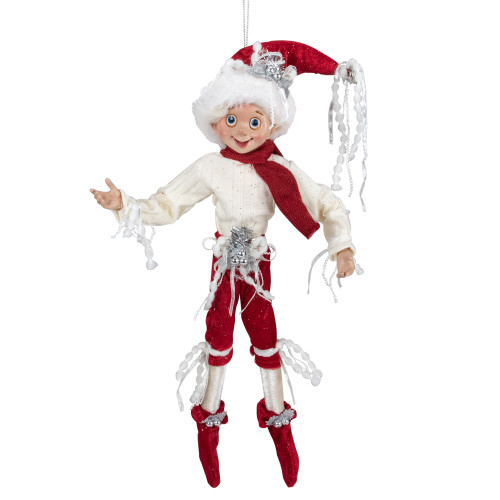 """13"""" Red and Cream Whimsical Dusty Elf With Holly Berries - IMAGE 1"""
