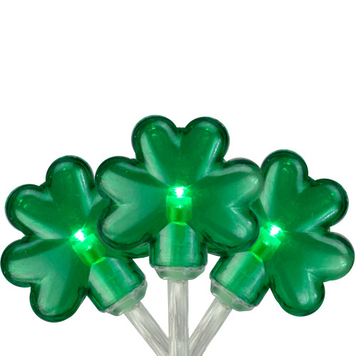 20-Count Green LED Mini St Patrick's Day Shamrock Lights - 7ft Clear Wire - IMAGE 1