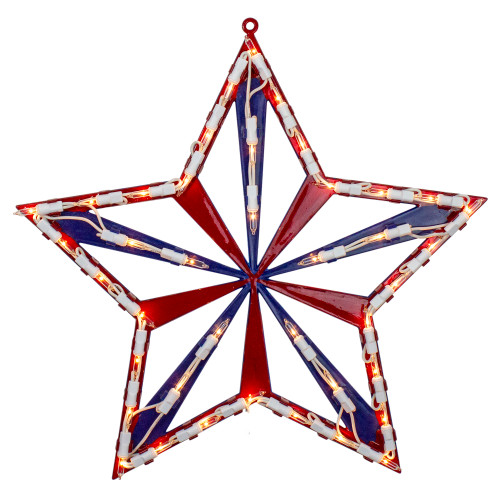 "14"" Lighted Red White and Blue 4th of July Star Window Silhouette Decoration - IMAGE 1"