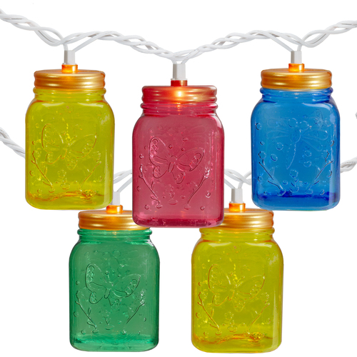 10-Count Multi-Color Mini Mason Jar Novelty String Light Set, 7.5ft White Wire - IMAGE 1