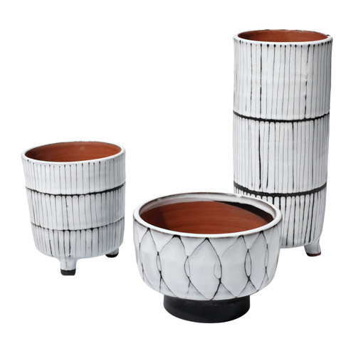 "Set of 3 White and Dark Gray Striae Ceramic Vessels 12"" - IMAGE 1"