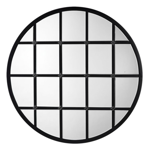 """36"""" Black and Clear Round Metal Grid Wall Mirror - IMAGE 1"""