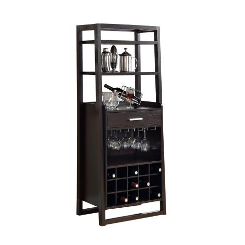 """60"""" Brown Contemporary Ladder Style Storage Home Bar Table - IMAGE 1"""