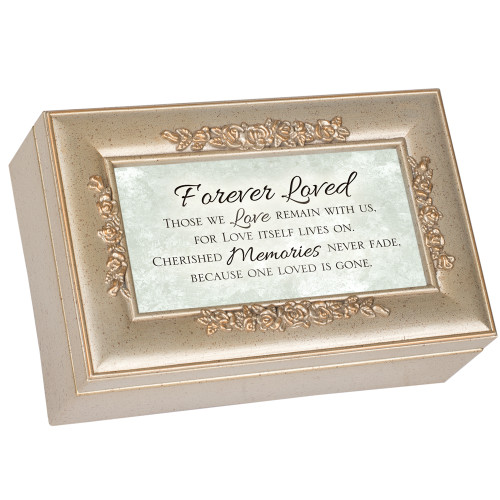 """6"""" Brown and White """"Forever Loved"""" Printed Rectangular Music Box - IMAGE 1"""