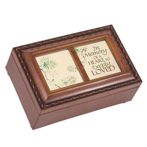 """6"""" Brown and Beige Rectangular Religious Musical Box - IMAGE 1"""