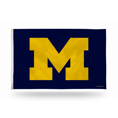 3' x 5' Blue and Yellow College Michigan Wolverines Rectangular Banner Flag - IMAGE 1