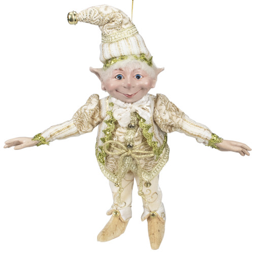 """13"""" Royal Gold and Beige Chubby Christmas Bendable Table Top Elf - IMAGE 1"""