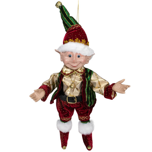 """13"""" Burgundy and Gold Festive Chubby Christmas Elf With Bells - IMAGE 1"""