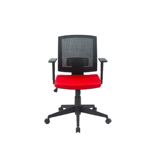 """36.75"""" Black and Red Low Back Mesh Office Chair - IMAGE 1"""