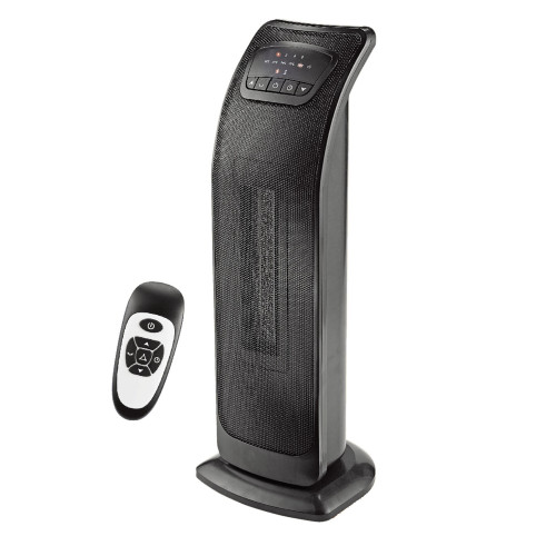 """23"""" Black Ecohouzng Oscillating Tower Ceramic Heater with Remote Contol - IMAGE 1"""