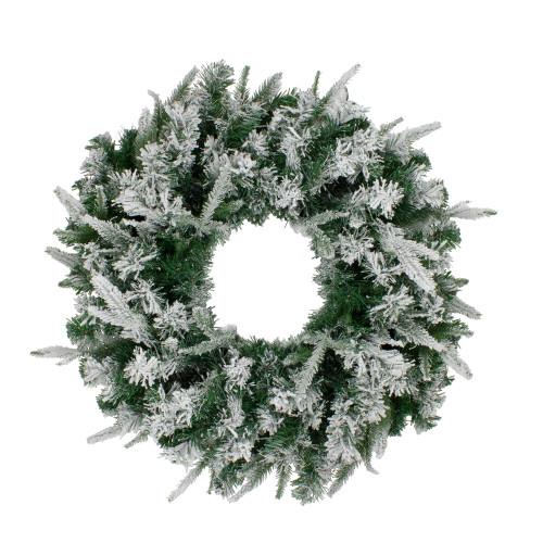 Flocked Winfield Fir Artificial Christmas Wreath - 24-Inch, Unlit - IMAGE 1