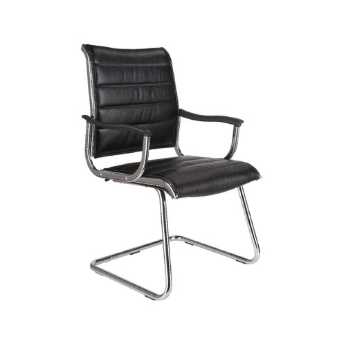 "41.50"" Black and Silver Mid-Back Leather Bonded Office Chair - IMAGE 1"