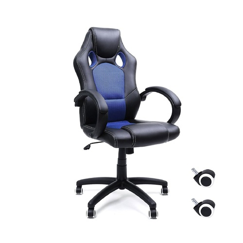 "31.50"" Black and Blue High Back Gaming Style Swivel Chair - IMAGE 1"