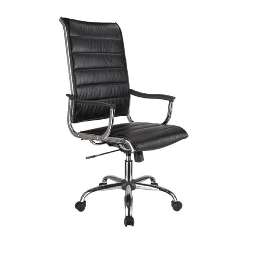 "41.50"" Black and Silver High Back Bonded Leather Office Chair - IMAGE 1"