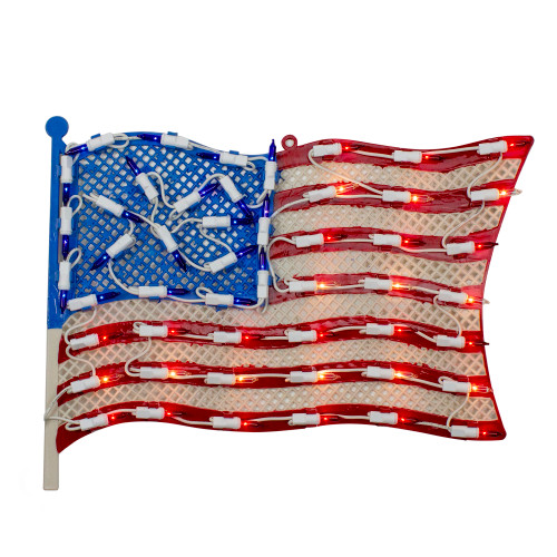 """14"""" Lighted Patriotic American Flag Window Silhouette Decoration - IMAGE 1"""