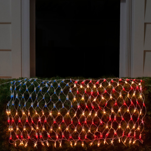 2' x 2.75' Red and Blue American Flag Mini Net Style Lights - White Wire - IMAGE 1