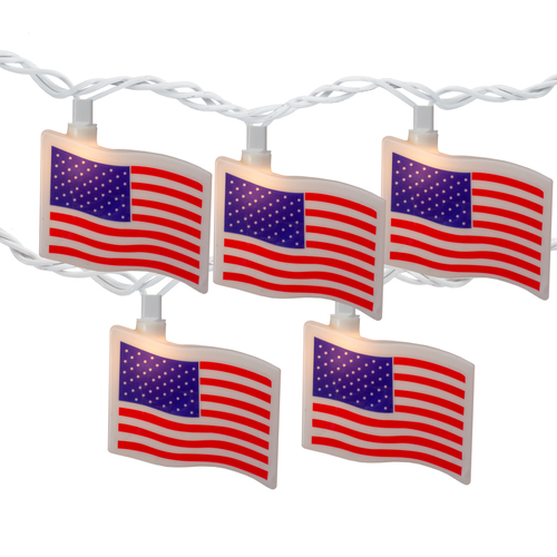 10-Count Red and Blue Patriotic American Flag 4th of July Lights, 7.5ft White Wire - IMAGE 1