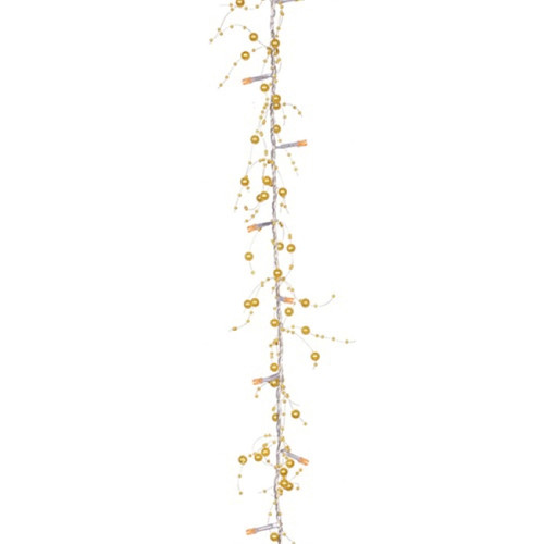 "96"" Pre-Lit LED Gold Beaded Artificial Christmas Garland - IMAGE 1"