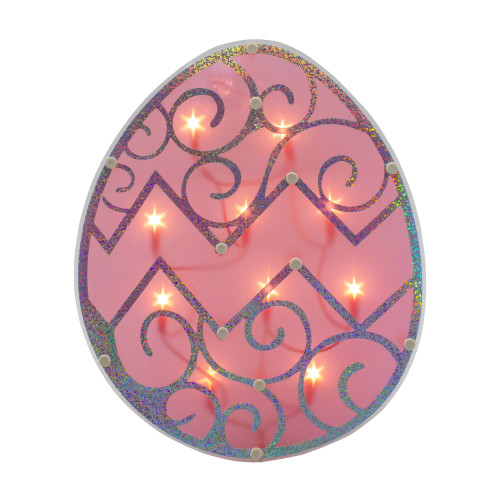 """12"""" Lighted Pink Easter Egg Window Silhouette Decoration - IMAGE 1"""