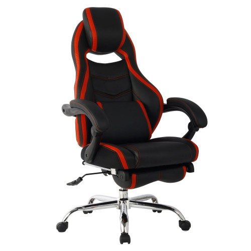 """44.75"""" Black and Red High Back Leather Gaming Style Swivel Chair - IMAGE 1"""