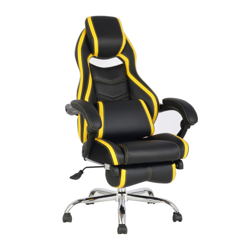"""44.75"""" Black and Yellow High Back Leather Gaming Style Reclining Swivel Chair - IMAGE 1"""