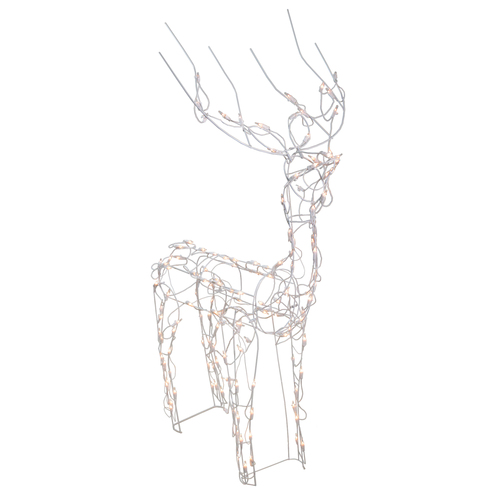 46in Lighted White Standing Buck with Animated Head Outdoor Christmas Decoration - IMAGE 1