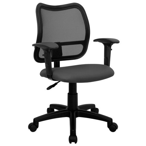 "38"" Mid-Back Black Mesh Swivel Task Office Chair with Gray Fabric Seat and Adjustable Arms - IMAGE 1"
