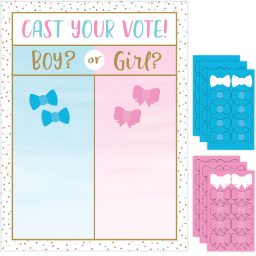 """Pack of 6 Pink and Blue Gender Reveal Cast Vote Party Game 24"""" - IMAGE 1"""
