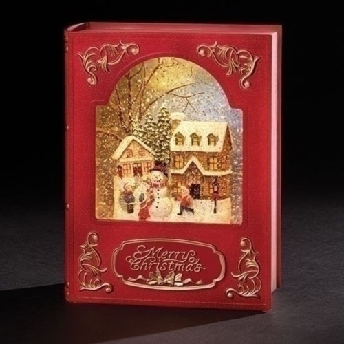 """8.5"""" Red and White LED """"Merry Christmas"""" with Snowman Printed Book - IMAGE 1"""