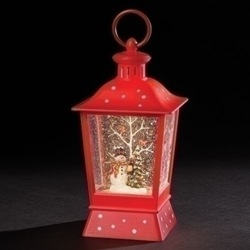 """9"""" Red and Brown LED Swirl Snowman Lantern - IMAGE 1"""