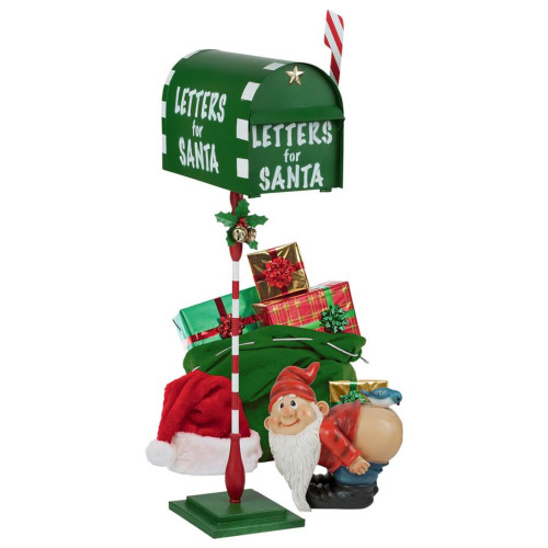 """34"""" Green and White North Pole Letters for Santa Mailbox Statue - IMAGE 1"""