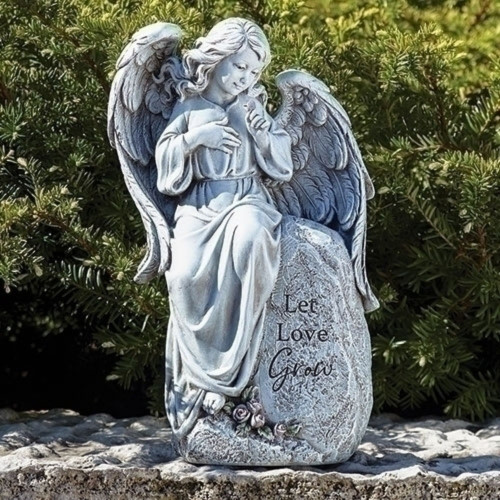 """12"""" Gray Seated """"Let Love Grow"""" Angel Garden Statue - IMAGE 1"""