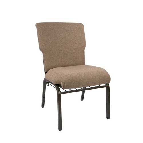 """34.5"""" Tan and Gold Vein Contemporary Multipurpose Church Chair with Book Rack - IMAGE 1"""