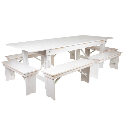8' Antique Rustic White Folding Farm Table and Six Bench Set - IMAGE 1