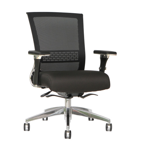 "36.5"" Black Mesh Mid Back and Upholstered Fabric Seat Office Chair - IMAGE 1"