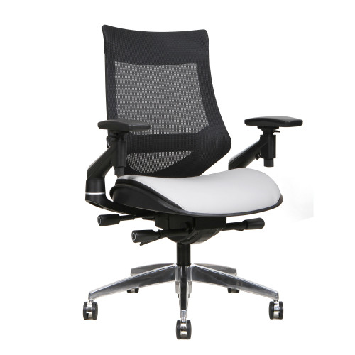 "38.5"" Black Mesh Mid Back and White Bonded Leather Seat Office Chair - IMAGE 1"